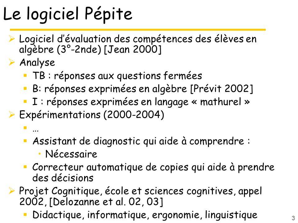 Le logiciel Pépite Logiciel d'évaluation des compétences des élèves en algèbre (3°-2nde) [Jean 2000]